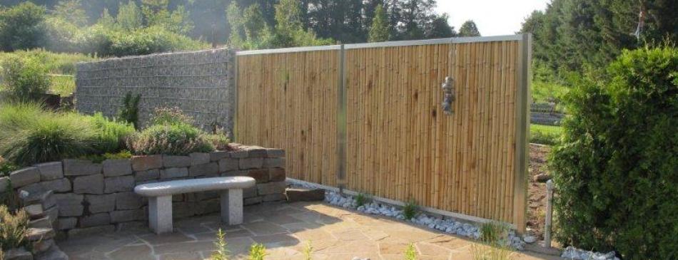 Bambus Edelstahl Zaun Modul5