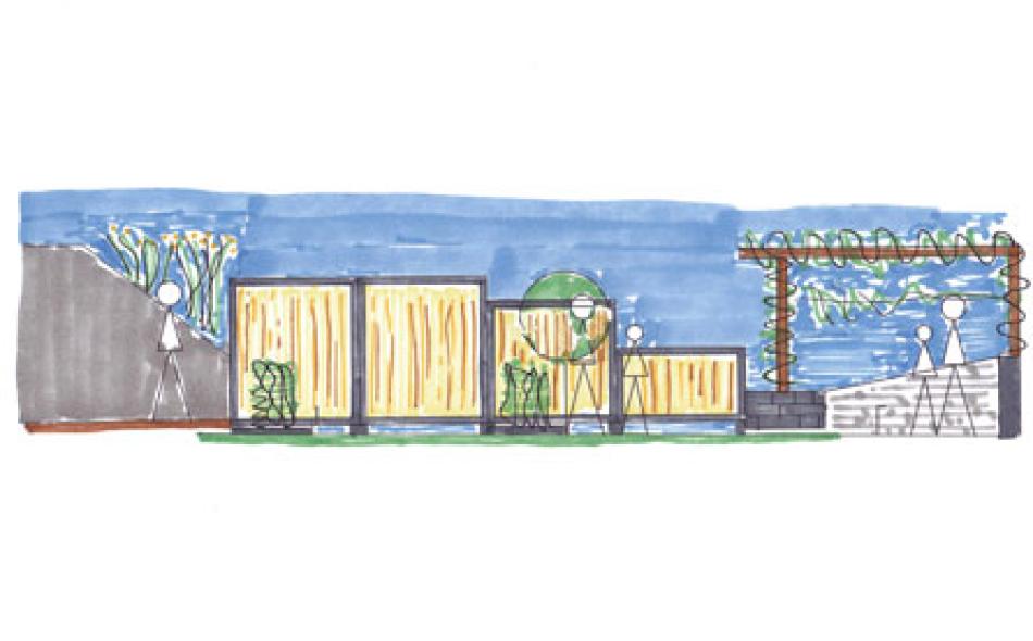 Ansicht Zaun Bambusbasis