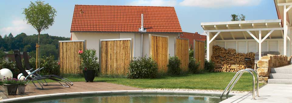 die bambusbasis bambuszaun mit edelstahl. Black Bedroom Furniture Sets. Home Design Ideas