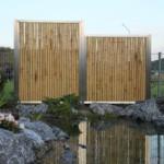 Bambuszaun am Teich