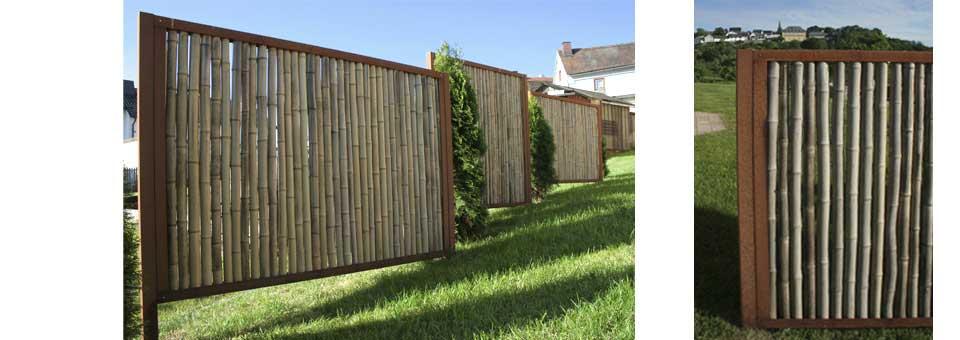 Die Bambusbasis  Bambuszaun mit Edelstahl